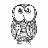 picture of stippling  - Cute decorative ornamental Owl vector illustration for design - JPG