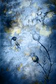 image of angry bird  - Birds on crackle blue color textured background - JPG