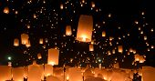 stock photo of cho-cho  - Floating lanterns ceremony or Yeepeng ceremony traditional Lanna Buddhist ceremony in Chiang Mai Thailand - JPG