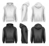 pic of hoodie  - Set of black and white male hoodies with sample text space - JPG