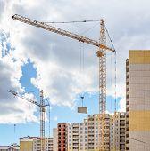 image of construction crane  - Cranes on construction site - JPG