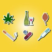 picture of hallucinogens  - set of color icons with symbols of drug addiction for your design - JPG