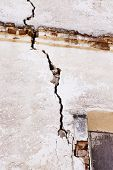 stock photo of collapse  - building wall which started collapsing gradually - JPG