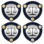 picture of symbol justice  - Set of four abstract icons and golden screws with the symbol of justice - JPG