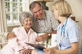 picture of retirement  - Retired Senior Woman Having Health Check With Nurse At Home - JPG