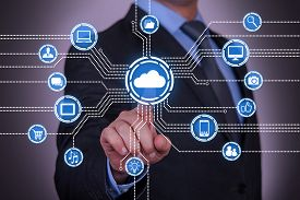 stock photo of network  - Abstract Cloud Computing Concept social networking communication - JPG