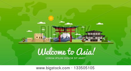 poster of Welcome to Asia travel on the world concept traveling flat vector illustration. Worldwide traveling. Asia landmarks. Famous Asian buildings. Asian architecture in cartoon style. Asia travel concept. World travel background. Travel banners. Time to travel.