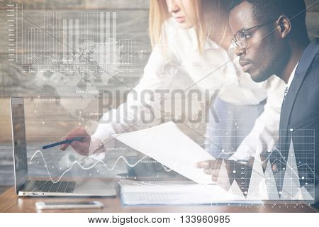 Double Exposure. Visual Effects. Two Colleagues Working Together On Business Project Using Laptop: C