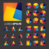 Colorful Abstract Unusual Shapes Vector Logo Icons Of Design Elements poster