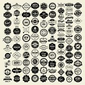 100 Labels and Logotypes design set. Retro Typography, Premium Quality design. Badges, Logos, Border poster