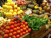 foto of bartering  - a close-up of a market stall showing the fresh produce.