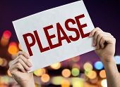 Please placard with night lights on background poster