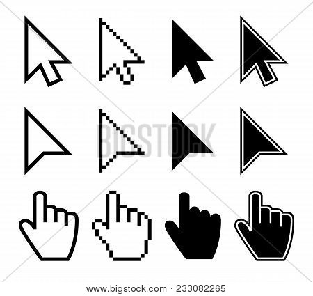 poster of Clicking Mouse Cursors, Computer Finger Pointers Vector Set. Mouse Pointer Finger, Cursor Arrow Hand