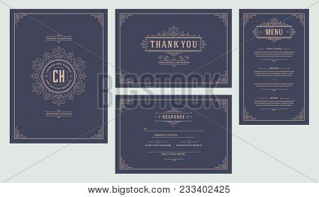 Set Wedding Flourishes Ornaments Invitations