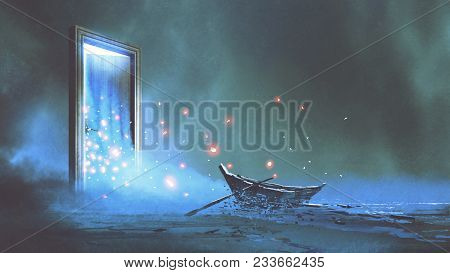 poster of Fantasy Scenery Of The Abandoned Boat On The Shore Near The Mystery Door, Digital Art Style, Illustr