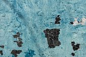 Old Blue Painted Metal Texture. Metal Surface With Peeling Cracked Paint. Peeling Paint On Painted M poster