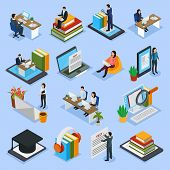 Online Education Isometric Icons With Distance Lecture, Audio Books, Computer Test, Electronic Libra poster