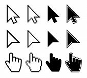 Clicking Mouse Cursors, Computer Finger Pointers Vector Set. Mouse Pointer Finger, Cursor Arrow Hand poster