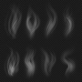White Transparent Smoke Collection. Hot Steam From Food Isolated On Checkered Background Vector Set. poster