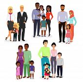 Vector Illustration Set Of Different Nationals Couples And Families. People Of Different Races, Nati poster
