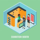 Exhibition Booth Concept Vector Flat 3d Illustration. Isometric Trade Show Stand Mockups, Young Woma poster