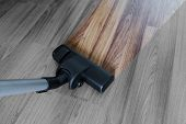 Cleaning Laminate Wood Floor, Vacuum Cleaner Cleaning Dust And Dirtiness poster