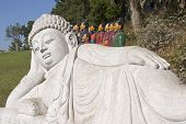 foto of qin dynasty  - Buddha statue and two rows of Terracotta warriors from China - JPG