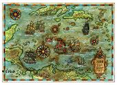 Ancient Caribbean Sea Map With Pirate Ships And Islands. Decorative Antique Background With Nautical poster