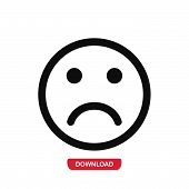 Sad Icon Vector In Modern Flat Style For Web, Graphic And Mobile Design. Sad Icon Vector Isolated On poster