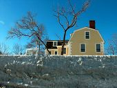 pic of marblehead  - Stone wall frozen after storm - JPG