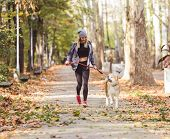 Woman Running And Walking In Beautiful Park With Akita Dog. poster
