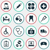 Medicine Icons Set With Stethoscope, Adhesive Plaster, Nurse Hat And Other Peck Elements. Isolated V poster