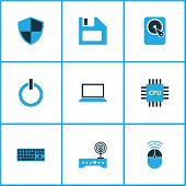 Hardware Icons Colored Set With Laptop, Cpu, Wifi And Other Notebook   Elements. Isolated  Illustrat poster