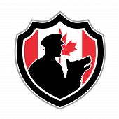 Icon Retro Style Illustration Of A Canadian Police Canine Team Showing A Policeman And Police Dog Si poster