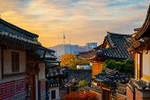 Ancient Korean Town In Autumn And Morning Sunrise, Travel Place In Seoul City, Seoul, South Korea poster