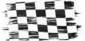 Closeup Of Art Brush Watercolor Painting Checkered Black And White Racing Flag Blown In The Wind Iso poster