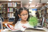 Innovative Stem Education And Tree Of Knowledge Concept With Kid Reading Book In Library poster