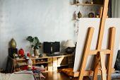Artistic Equipment: Artist Paper Or Canvas On Easel In An Artist Studio. Cozy Room Of Creative Peopl poster