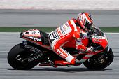 SEPANG, MALAYSIA - FEBRUARY 2: MotoGP rider Nicky Hayden of the Ducati Malboro Team practices at the