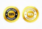 Vector Illustration Golden 100% Money Back And Satisfaction Guarantee Label Medal Set poster