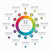Infographic Circle. 12 Options, Steps, Parts. Business Concept For Diagram, Graph, Chart. Vector Tem poster
