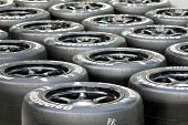 SEPANG, MALAYSIA - JUNE 18: Tires for the race cars are marked and ready for use at the Sepang Inter