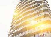 Abstract Fragment Of Modern Building With Sunbeam And Glare Effect, Toned, Copy Space poster
