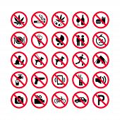 Red Prohibition Icons Set. Prohibition Signs. Forbidden Sign Icons. Red Warning Signs Set poster