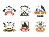 Set Of Vintage Woods Camp Badges And Travel Logo Hand Drawn Emblems Nature Mountain Camp Outdoor Vec poster