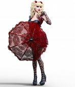 Young Beautiful Girl With Doll Face Umbrella Posing Photo Shoot.short Dark Red Dress, Stockings, Sho poster