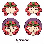 Ophiuchus Astrology Sign. 13 Sign Astrology. Set Of Horoscope Signs As Women. Zodiac For Girls. Vect poster