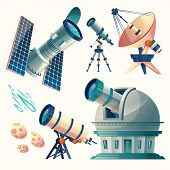 Постер, плакат: Vector Cartoon Astronomy Set Astronomical Telescopes Radio Orbital Planetarium Observatory Sa