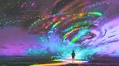 Little Girl Standing In Front Of Fantasy Cosmic Storm, The Black Tornado With Colorful Stars, Digita poster