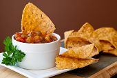 picture of chipotle  - Peach Mango Salsa with chipotle Chips  - JPG